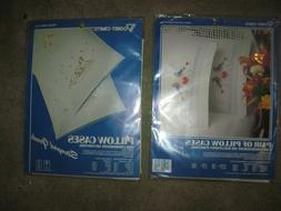 2 New Sealed VOGART CRAFTS Pillowcase Embroidery Kits, Stamp