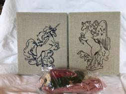2 Unicorn Needlepoint Embroidery 10x8 Kits Stretched with Th