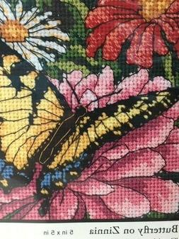 Dimensions 2009 NEEDLEPOINT Butterfly on Zinnia 5 in x 5 in
