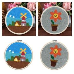 2x Punch Embroidery Kits Needlepoint for Beginners Kids Punc