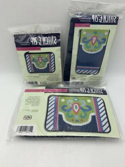 Alice Peterson Stitch & Zip NAVY-LIME ABSTRACT 3 Pc Makeup E