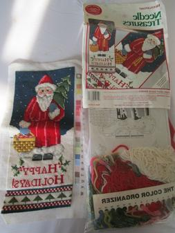 ALMOST FINISHED Needle Treasures STARRY NIGHT SANTA BANNER N