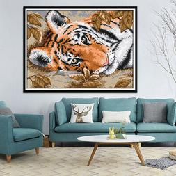 Cross Stitch Kit For Beginners Stamped & Counted Tiger Patte
