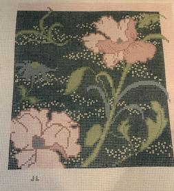 """Floral Morris Teal  Handpainted Needlepoint Canvas 11x11"""""""