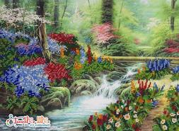 Forest stream Beaded Embroidery Needlepoint kit Summer Fores