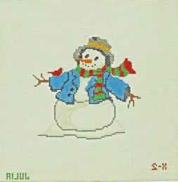 Hand Painted Canvas Needlepoint Snowman with Redbird Winter