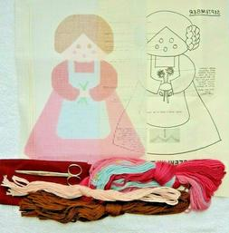"""Hand-painted Needlepoint Canvas Complete Doll Kit, 10"""" mesh"""