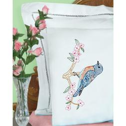 J DEMPSEY NEEDLE ART Pillow Case 2 pc Stamped for Cross Stit