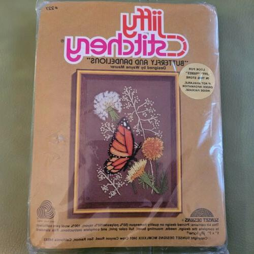 new vintage stitchery butterfly and dandelions crewel