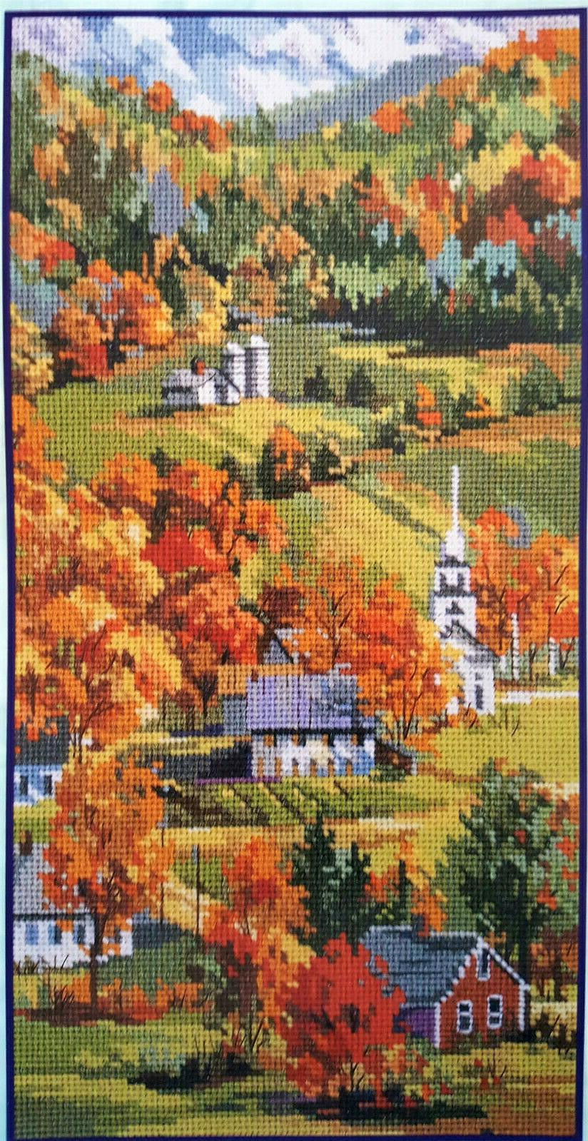 vintage incomplete 2001 new england fall scene