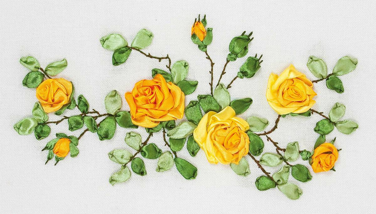 yellow roses printed ribbon embroidery cross stitch