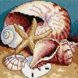"""Dimensions Mini Needlepoint Kit 5"""" X 5"""" Shell Collage NEW 14"""
