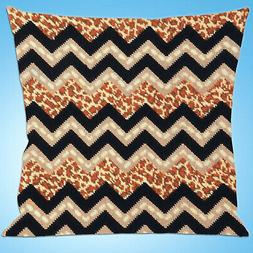 Needlepoint Kit ~ Design Works Leopard ZigZag Picture or Pil