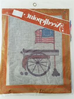 Sew N Tell Needlepoint Kit USA FLAG CANNON Canvas 9x11 Sewin