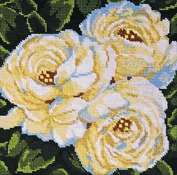 Needlepoint Kit ~ Design Works White Roses Picture or Pillow