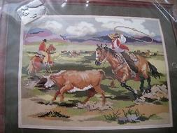 Bucilla Needlepoint PICTURE Kit,WORKING COWBOYS,Horse,Cattle