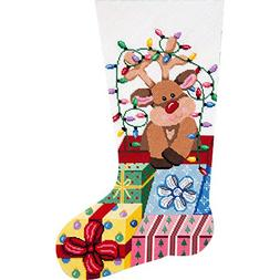Alice Peterson Needlepoint Stocking Kit-- Gift Wrapped Reind