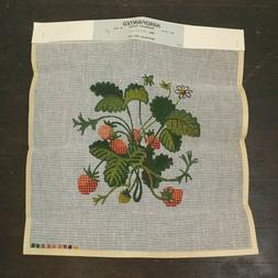 Provincial Arts Needlepoint Tapestry Canvas Strawberry Plant