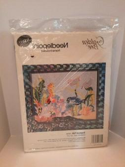 New Golden Bee Needlepoint Tropical Fish 30760  w/ Plastic F