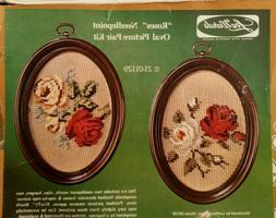 Set of 2 Needlepoint oval picture kits FINISHED Lee Wards Ro