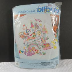 Bucilla Sleepytime Castle Cross Stitch Quilted Crib Cover St