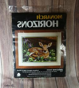 """Monarch Horizons SPRINGTIME FAWN T1361 Needlepoint 16""""x12"""" Y"""