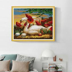 Stamped Cross Stitch Kits 14CT Swan Pattern Needlepoint for