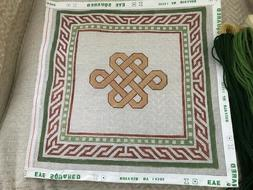 Stunning, Bright Color Square Geometric Needlepoint with Pat