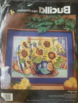 Sunflowers Needlepoint Kit by Bucilla Vintage NOS 16x12 Lind