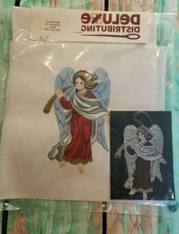 Vintage Village Needlepoint Angel W/ Horn On Needlepoint Can