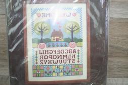 vintage needlepoint picture kit 2175 welcome