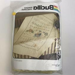 Vintage Bucilla Quilted Stamped Crib Cover Sampler 60x40 Nee